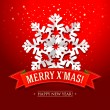 Vector de stock : Christmas card with paper snowflake and inscription on red