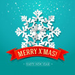 Vector de stock : Christmas card with paper snowflake and inscription on a red rib