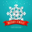 Christmas card with paper snowflake and inscription on a red rib — Imagen vectorial