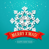 Christmas card with paper snowflake and inscription on a red rib — Vector de stock