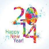 New Year's card 2014 with colorful drops and sprays. Vector illu — Vector de stock