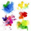 Set of watercolor drops and spray — Stock Photo