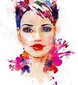 Fashion illustration of the beautiful girl — Stok fotoğraf