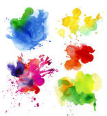 Set of watercolor drops and spray — Stockfoto