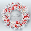 Christmas decoration. The wreath made of white pine branches wit — Stockvector