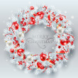 Christmas decoration. The wreath made of white pine branches wit — Stock Vector