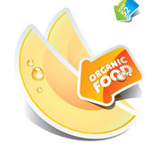 Icon of sliced melon with the arrow by organic food. Vector illu — Stock Vector