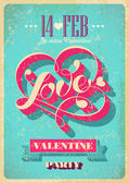 Vintage Valentine poster. Vector illustration. — Stock Vector
