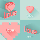 Set of flat design LOVE icons. Vector illustration. — Stock Vector