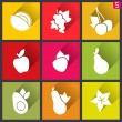 Stock Vector: Flat design icons. Set of fruit. Vector illustration.