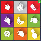 Flat design icons. Set of fruit. Vector illustration. — Stock Vector