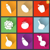 Flat design icons. Set of vegetables. Vector illustration. — Stock Vector