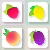 Set of flat design fruit icons. Vector illustration. — Vector de stock