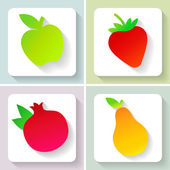 Set of flat design fruit icons. Vector illustration. — Stock Vector