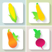 Set of flat design vegetable icons. Vector illustration. — Stock Vector