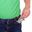 Child with money in pocket — Stock Photo
