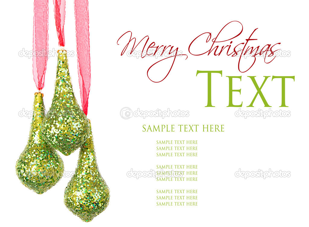 Three hanging Christmas or holiday ornaments, isolated on white — Stock Photo #12382028