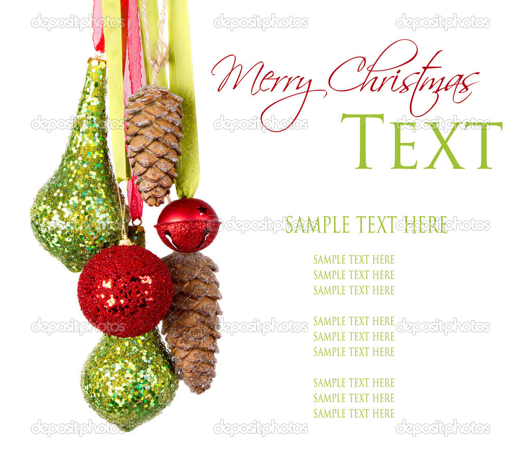Many Christmas or Holiday ornaments hanging from ribbon, Isolated on white — Stock Photo #12382040
