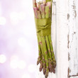 Bunch of asparagus hanging on a door — Stock Photo