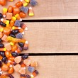 Halloween candy on a wooden crate — Stock Photo