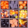 Halloween candy arranged in a printers box — Stock Photo #13891339
