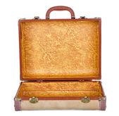 Vintage suitcase or luggage open, isolated — Stock Photo
