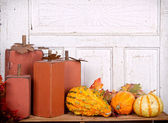 Wooden pumpkins autumn still life — Stock Photo