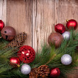 Royalty-Free Stock Photo: Christmas ornaments on wooden background