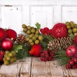 Christmas fruit on a wooden background — Stock Photo