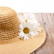 Sun hat on wooden plank — Stock Photo