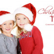 Two children wearing Santa hats — Stock Photo #17437309