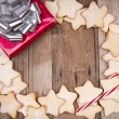 Christmas cookies with present — Stock Photo