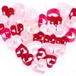 Paper hearts in shape of heart on white background — Stock Photo #18423543