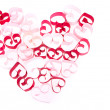 Paper hearts in shape of heart on white background — Stock Photo