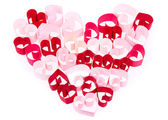 Paper hearts in shape of heart on white background — Stok fotoğraf