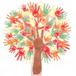 Stock Photo: Tree made of childrens hands