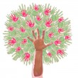 Apple tree made of childrens hands — Stock Photo