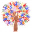 Tree made of childrens hands — Stock Photo