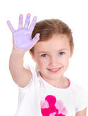 A child with purple paint on her hand — Stock Photo