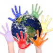 Stock Photo: Rainbow hands around globe, Parts of this image furnished by