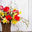 Spring flowers in a vase — Stock Photo
