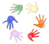 円の塗られた手 — ストック写真