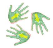 手绘绿色,带上他们的箭头 — 图库照片
