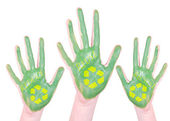 Green painted recycle hands — Stock Photo