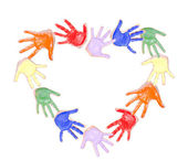 Painted hands in a heart — Stock Photo