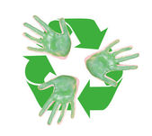 Green hands with the recyle symbol — Stock Photo