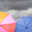 Stock Photo: Umbrellas on cloudy background