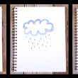 Series of paintings with cloud and umbrella — Stock Photo