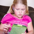 Child using a tablet — Stock Photo
