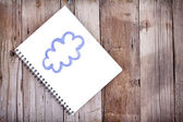 Pittura della nube su notebook — Foto Stock